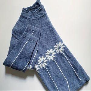 Wool blend sunflower stone blue pullover sweater